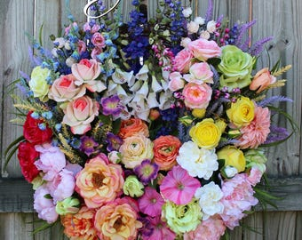 Large English Cottage Garden Landscape Wreath, French Country Wreath, Summer Garden, Rose Garden, Mother's Day Wreath, Floral Wreath