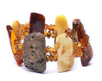 Massive Bracelet - Massive Amber Bracelet for Woman - Certified Genuine Baltic Amber