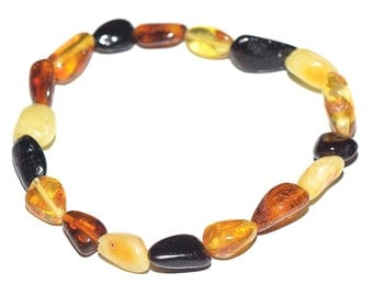 Casual daily wearing real Amber bracelet for women - Multicolored - Handmade Amber Bracelet - 3 sizes to choose - Shipping in USA