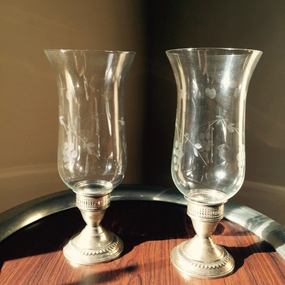 Vintage Sterling Silver Candle Holders Hurricane Lamps Etched Glass Globes