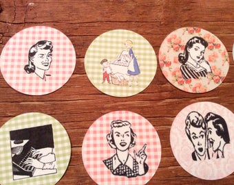 Vintage inspired round domestic goddess tags