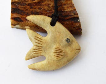Fish necklace, Fish pendant, Fish jewelry, Antler necklace, Antler pendant, Bone fish, Bone jewelry, Bone necklace, Fish charn, Angelfish