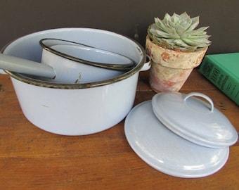 Enamel Pan Set French Blue Vintage Enamel Pots Rustic Kitchen Decor