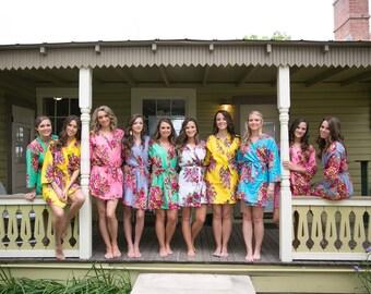 Set of 15 robes Floral Bridesmaid Robes Bridal Party Robes Floral Cotton Robes Bridesmaids Gift