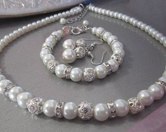 Pearl Wedding Necklace, Bracelet, Earring Set, Pearl and Rhinestone Bridal Jewelry 3 Piece Pearl Set White Bridesmaid Gift