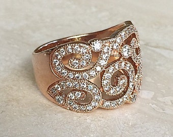 Stunning EFFY 14k Rose Gold Approximately 1 to 2 carat Diamond Band/Ring Weighing a hefty 12.4 grams