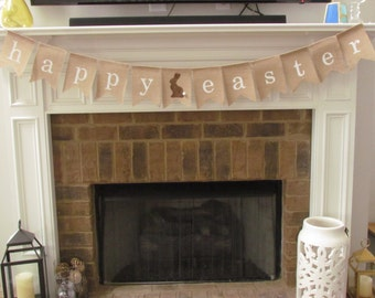 Easter Banner, Easter Burlap Banner, Spring Decorations, Bunny Detail, Happy Easter Banner