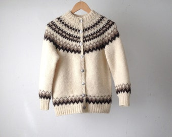 nordic WOOL 60s CARDIGAN knit thick CREAM sweater nirvana style classic cabin log lady sweater