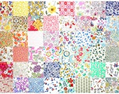 """Liberty Fabric 48 Mini 2.5"""" Charm Pack Squares Patchwork Quilting Floral muted pastel pale low volume Liberty London Tana Lawn"""
