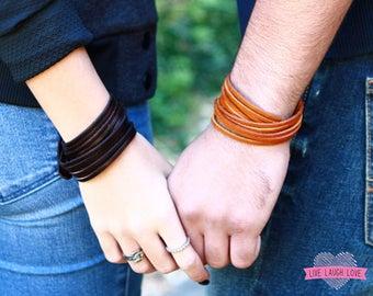 Leather Bangle Bracelet. Multi-strand Wrap Leather Cuff. Wrap Leather Bracelet. Adjustable Snap Closure Leather Bangle Bracelet B045A