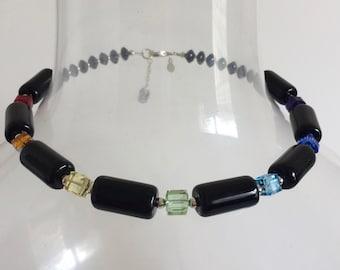Seven Chakra Choker Necklace, Statement Necklace, Swarovski Crystal