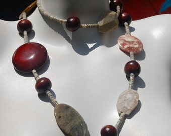 ON SALE 20% OFF Chunky Long Beaded Necklace, Picture Jasper Slabs, Wood, Red Agate, .925 Sterling Silver