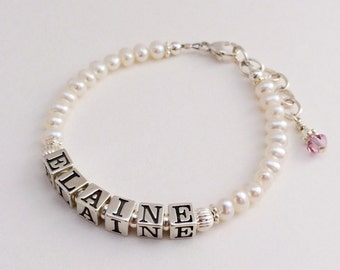Baby Child Personalized Name Bracelet Sterling Silver White Freshwater Pearl Flower Girl Gift