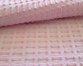 "SALE...Vintage Chenille Bedspread Fabric Pink Morgan Jones Buttonhole...18 x 24"""