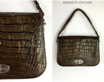 1960s Crocodile Skin Handbag - Vintage 60s Crocodile Skin Bag - 1960s Brown Croc Leather Shoulder Bag - Satchel -