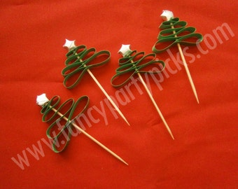 Christmas Tree Party Picks with Origami Star on top, Party Toothpicks, Cupcake Topper, Cake decoration, Appetizer Picks