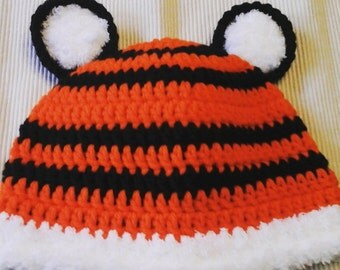 Deluxe Tiger Hat, Tiger Fan Beanie for Infant, Child, Teen, or Adults, Newborn Photo Prop, Clemson, LSU, Bengals, Auburn, Baby Shower Gift