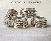 Family Spinner Ring 14K Rose/Gold-Filled Personalized Customizable Mothers Ring Wear Your Whole World on Your Finger by ShesSoWitte