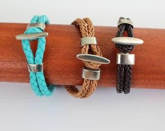 Braided Leather Oval Clasp Bracelet
