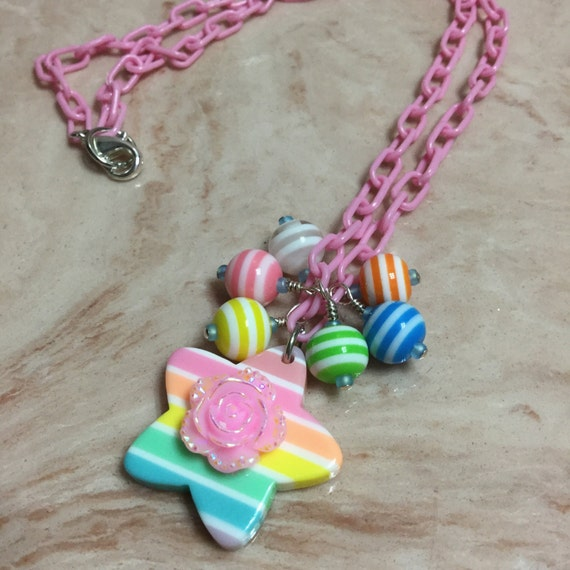 Rainbow flower bauble necklace