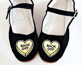 Back Off rude conversation candy hearts Cotton Mary Jane Shoes 90's  Any Size Limited Quanity