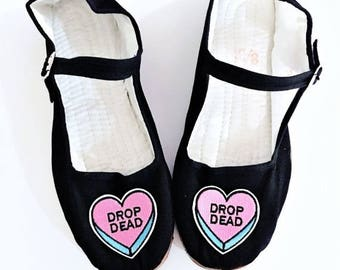 Anniversary sale Drop Dead rude conversation candy hearts Cotton Mary Jane Shoes 90's  Any Size Limited Quanity