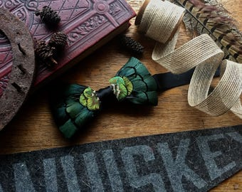 Green Feather Bow Tie, Peacock feather, Lady Amherst, gold bow tie