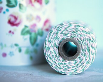 Spring Blossom twine, Colors: Blossom (light pink), Seaweed (mint green) & White 10m