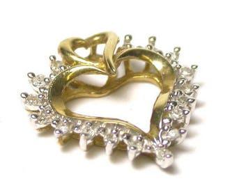 Vintage Diamond Heart Pendant - 10K Yellow Gold Open Heart Diamond Pendant - Valentines - Sweetheart # 1369