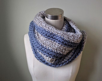 Striped Scarf / Infinity Scarf / Crochet Scarf / Hygge / Textured Scarf