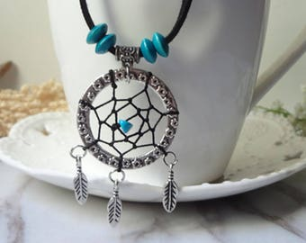 Blue turquoise plumage for dream net leaf necklace  0366
