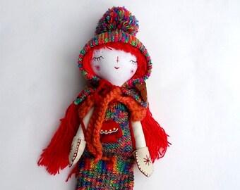 Winter Rainbow Doll, 16 inch Doll, Rag Doll, Handmade Doll, Cloth Art Doll, Heirloom Doll