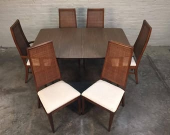 Mid-Century Modern Dining Table With 6-Chairs & 2-Extensions - SHIPPING NOT INCLUDED
