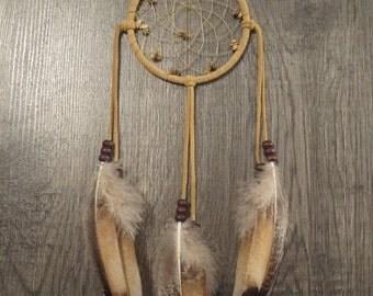 ON SALE Buckskin Suede Dream Catcher with Rare Heritage Turkey Feathers