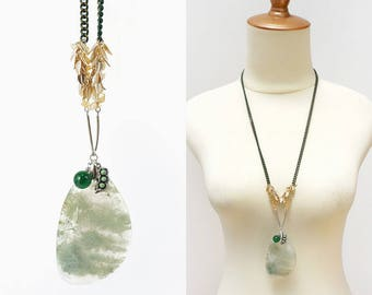 Light Green Moss Agate Big Stone Slab Pendant Long Necklace with Yellow Citrine Chips and Edamame Charm