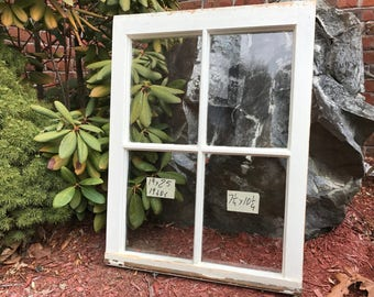 19 x 25 vintage window sash old 4 pane frame from 1940s arts crafts