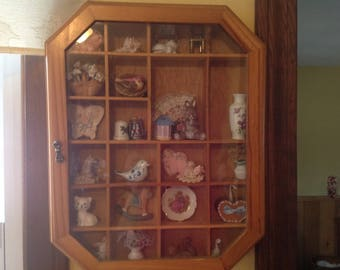 Vintage Wooden Shadow Box And All The Trinkets