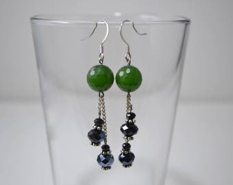 Earrings, Black and Green Earrings, Dangle Earrings, Dangly Earrings, Black Earrings, Green Earrings, Chain Earrings