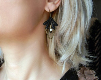 Victorian black lace earrings with Ivory beads and chain Victorian mourning jewelry, Victorian Gothic, Small fabric earrings Chain earrings