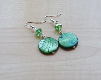 Green Shell Earrings, Women's Green Earrings,  Green Dangle Earrings