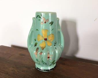 Vintage hand-painted ceramic flower vase