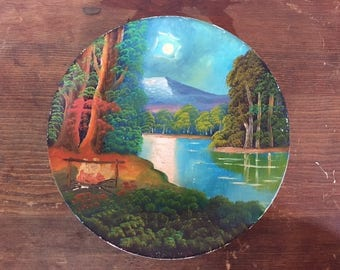 Hand painted plate rustic folk art woodsy mountain camp scene