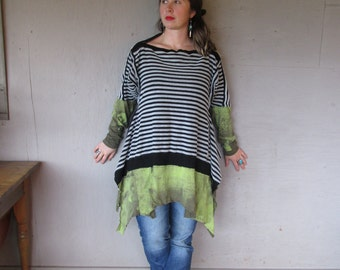Funky upcycled tunic wearable art shirt Lagenlook clothing Boho gypsy chic gray black stripe top Large X L Eco tunic by LillieNoraDryGoods