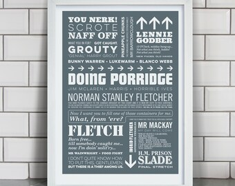 DOING PORRIDGE - Porridge TV Show Typographic Print in Prison Grey. Available in A2 or A3.