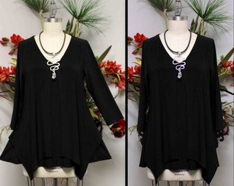 Dare2bstylish Asymmetrcal Tunic, Black Tunic, Designer Tunic, Plus size Tunic, Women Tunic, for Travel and Much More. Size S to 3XL