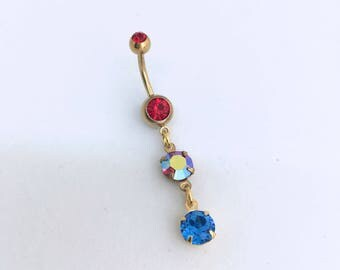 red belly ring, blue belly ring, Belly ring dangle, Swarovski,red,blue,4th of july, jewelry,Belly button ring, belly ring AB RED BLUE