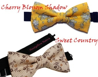 Floral Print Bow Tie- Cherry Blossom Shadows or Sweet Country- Asian Inspired- Adjustable Neck Strap- Handmade- All size- Newborn to Adult