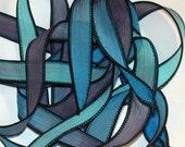 "Dark Waters 42"" hand dyed wrist wrap bracelet silk ribbon//Yoga wrist wrap bracelet ribbons//Silk wrist wrap ribbon// By Color Kissed Silk"