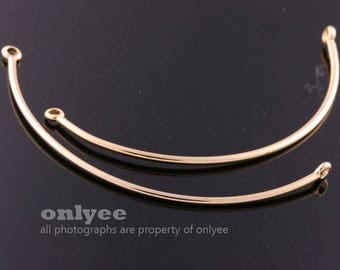 2PCS-53mmX1.2mmBright Gold Plated Brass curved bar connectors Bangles of jewely supplies,Deco Bracelet (K1303G)