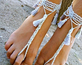 ON SALE Tassel BAREFOOT sandles, oriental barefoot sandal, belly dance barefoot sandals,silver grey anklet jewelry, foot thongs, bottomless